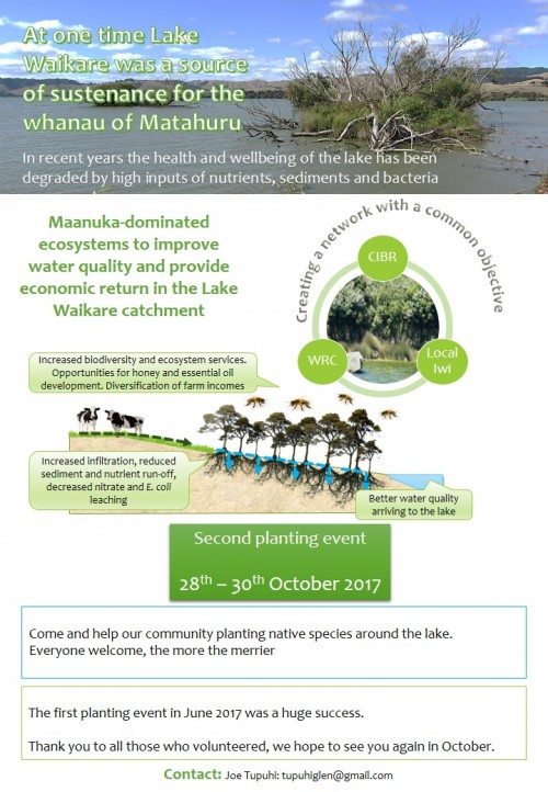 Invitation to October 201 planting event at Lake Waikare